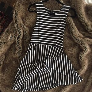 Black and white striped A line Old Navy Dress